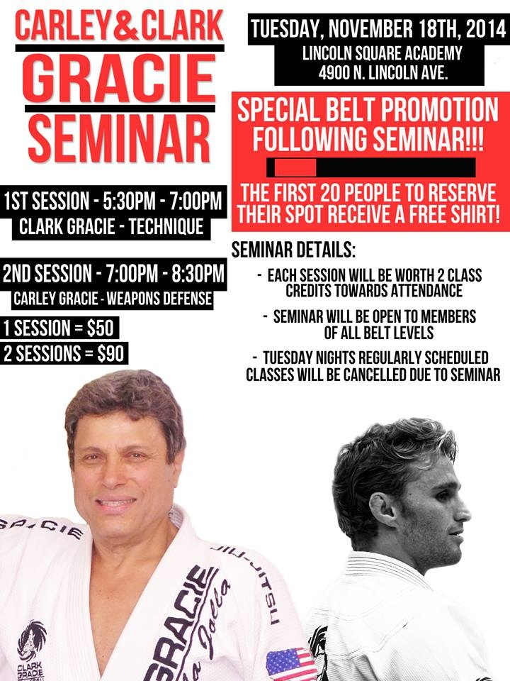 Carley Gracie Seminar on Weapons Defense November 18